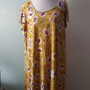 Plus size mustard dress with floral print